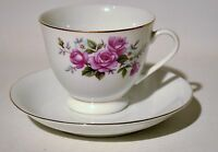 Pink Rose Ceramic Tea Cup Saucer Set Gold Trim Made in China