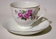 Pink Rose Ceramic Tea Cup Saucer Set Gold Trim Made in China