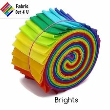 """20 x 2.5"""" Bright Jelly Roll PreCut Fabric Strips, 2.5 inch x WOF, Die Cut"""