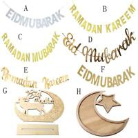 Eid Ramadan Mubarak Silver Alphabet Banner Bunting DIY Hanging Party Tray Decor