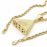"Mens Hip Hop 14k Gold Plated Eye of Horus Pyramid Pendant24"" 4mm TCH Rope Chain"
