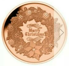 Xmas Wreath 1 oz. Copper Rounds .999 AVDP  Roll Of 20