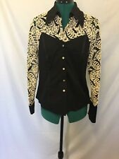 Black Cat Fashions L.A. black and cream embroidery top size L Womens