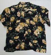 Vintage Tommy Bahama Black Hawaiian Floral Short Sleeve Button-Down Reg XL SILK