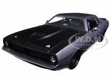 1973 PLYMOUTH BARRACUDA GREY WITH MATT BLACK 1/24 DIECAST MODEL BY JADA 98235