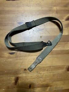 Spanish CETME C Rifle Sling, OD Green Canvas, HK, With Stud Plate
