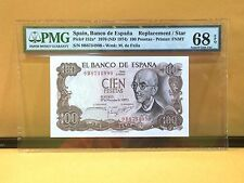 "1970 Spain,Banco De Espana 100 Pesetas P152a* ""Replacement/Star"" Banknote PMG 68"
