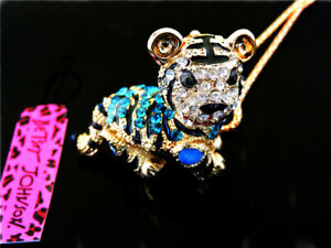 Betsey Johnson Crystal Enamel Cute little tiger Pendant Necklace Sweater Chain