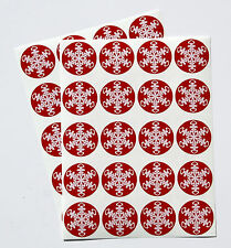40 White Snowflake on Red Large Present Seal Stickers (062)