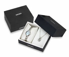 Seiko Women's Solar Stainless Steel Swarovski Crystals Gift Set Watch SUP367