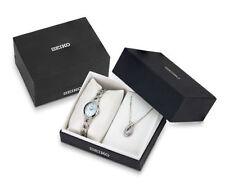 Seiko Women's Solar Stainless Steel Swarovski Crystals Gift Set Watch SUP367