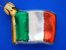 IRISH  FLAG IRELAND INTERNATIONAL BLOWN GLASS CHRISTMAS ORNAMENT