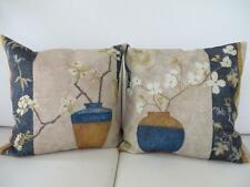 Pair of Beautiful Vase Orchids Hamptons Linen Blend Cushion Cover 45cm
