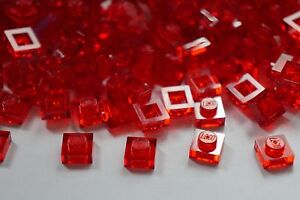LEGO 100x RED TRANSPARENT PLATE BRICKS 1x1 PIN No 3024 ( 30008 ) CITY-STAR WARS-