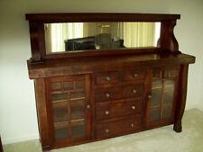 Antique Mission Oak Buffet Wood Sideboard Mirror Top Vintag Cabinet Hutch Server