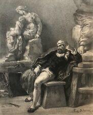Eugène DELACROIX (1798-1863) Michel-Ange graveur J Laurens C 1876