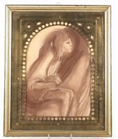 Beautiful Moroccan or Middle Eastern Frame with Charcoal Drawing