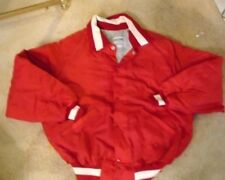 RED QUILTED BASEBALL JACKET WITH WHITE ACCENTS ADULT L