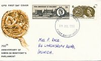 1965 700th Anniversary of Parliament First Day Cover postmark Ipswich