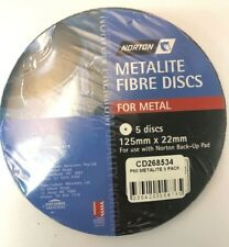 NORTON METALITE FIBRE DISCS FOR METAL P60  (PACKS OF 5) 125 MM X 22 MM