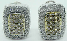 LADIES 14K WHITE GOLD CHAMPAGNE DIAMOND MICRO PAVE' EARRINGS