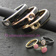 MelanO Twisted - Resin Ring Gr. 58 - Edelstahl GELBGOLD / Schwarz