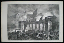 Burning of the paris opera house salle le peletier FRANCE ANTIQUE PRINT 1873
