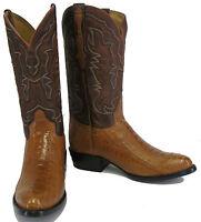 Men's New Genuine Ostrich Leg Exotic Skin Cowboy Western Rodeo Boots Cognac