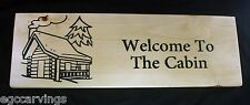 Welcome To The Cabin Wood Carved Sign Rustic Country Primitive  Log home decor