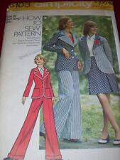 1973 SIMPLICITY #6103 - LADIES ~ HOW TO SEW ~ JACKET-SKIRT & PANTS PATTERN 10 uc