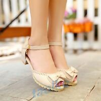 Women's Ladies Block Heel Bowknot Ankle Strap Open Toe Sandal Party Sweet Shoes