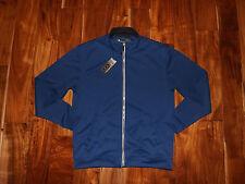 NWT Mens PEBBLE BEACH Blue Full Zip Performance Sweatshirt Jacket Stitch Sz M