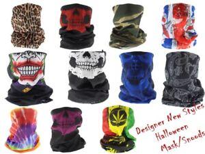Snood Face Cover Skull Paisley Plain Fashion Face Mask Snood Balaclava Neck Tube