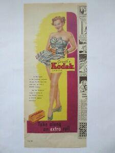 Vintage Australian advertising 1950s ad KODAK VERICHROME CAMERA FILM pin-up girl