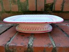 Antique Minton Majolica Pink White Tazza Platter Pedestal Bowl Lattice Spiderweb