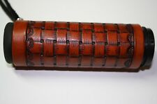 Custom Leather Hand Tooled  Large Basket Weave Grip Covers Western Style Border