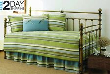 Green Striped 5 piece pc Twin Daybed Set Quilted Cotton Cover Bedding
