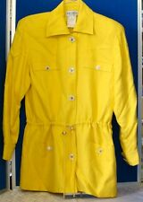 Couture JON TAGIA Pret A Porter LONG JACKET Sz 4 Yellow FULLY Lined w.DRAWSTRING