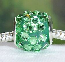2PC Green Rhinestone August Birthstone Beads for Silver European Charm Bracelets