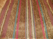 Green Burgundy Red Stripe Chenille Upholstery Fabric 1 Yard R725