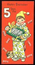 Vintage Birthday Greeting Card BOY PUPPY CANDY ZEBRA HAPPY BIRTHDAY 5 YEAR OLD