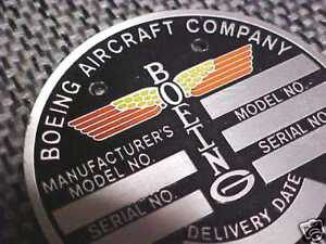 Boeing Antique Aircraft Data Plate etched aluminum B-17 WW2 & other models