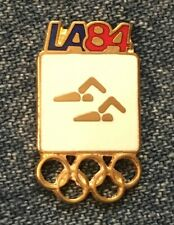 Synchronized Swimming Olympic Pin Badge~White ~ Pictogram ~ 1984 Los Angeles~LA