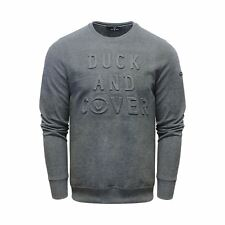 Mens Duck and Cover Linden Embossed Crew Sweatshirt in Peat XL DC2E111549BCHA248