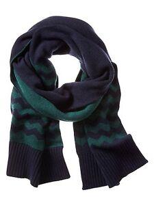 NEW BANANA REPUBLIC Mens Womens Chevron Navy Blue or Green Wool Blend Scarf $59