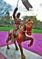 Sculpture ancienne Jeanne d'Arc au cheval en bronze France Antique sculpture Jea