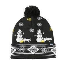 340e9a46338 Men Women Winter Snowman Christmas Pom Pom Knit Beanie Cuff Skull Hat Black