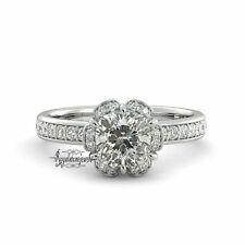 1.60 Ct Cushion Forever One Moissanite & Diamond Engagement Ring 14k White Gold