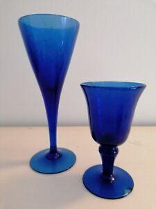 Bicchieri cristallo da arredamento colore blu