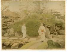 Japon, Okano Garden, Tokio Vintage albumen print.  Tirage albuminé aquarellé